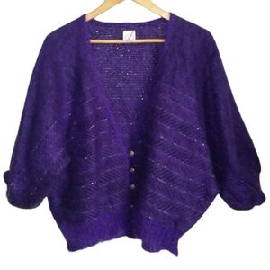 VINTAGE Canadian Cropped Oversized Purple V Neck Mohair & Wool Cardigan Small